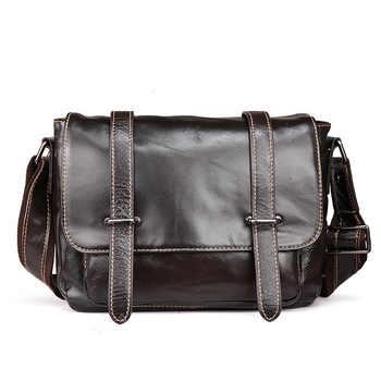 Bolso de cuero para hombre, bolso inglés Postman, bolso Casual de negocios, bolso de mensajero de cuero de cera de aceite