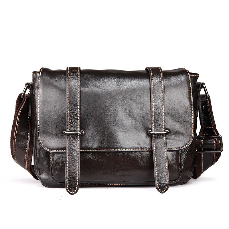 Leather Men's Bag England Postman Bag Fashion Casual Business Shoulder Messenger Bag Oil Wax Leather