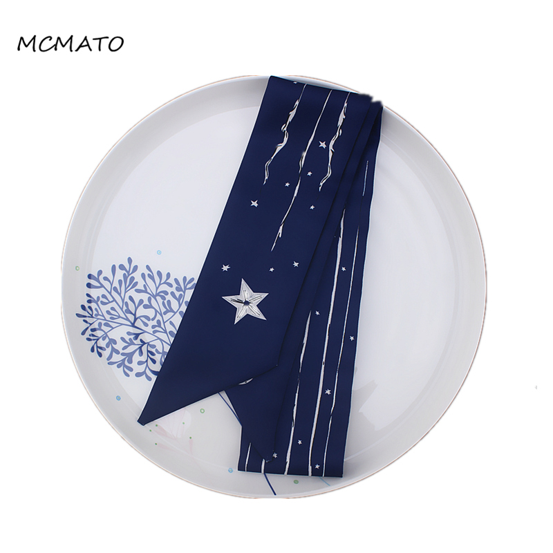 Five-star Line Circle Print Woman Twilly Silk Scarf 100cm*6cm Long Small Head Scarf Navy Blue Beige Red Kerchief Neck Scarf Tie