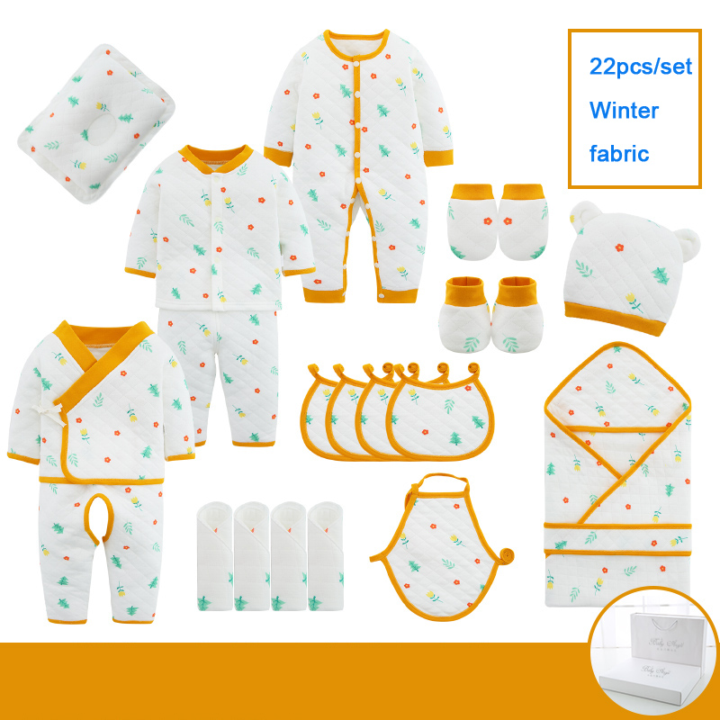 22/18pieces/0-3Months Spring Autumn Newborn Baby Clothing 100%Cotton Kids Clothes Suit Unisex Infant Boys Girls Clothing Set
