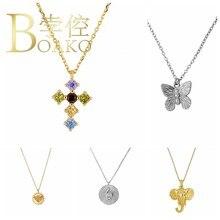 BOAKO – collier ras du cou en argent Sterling 925 pour femme, bijoux de luxe, croix arc-en-ciel, Cadena Plata, à la mode, diamant #2020, 8.5