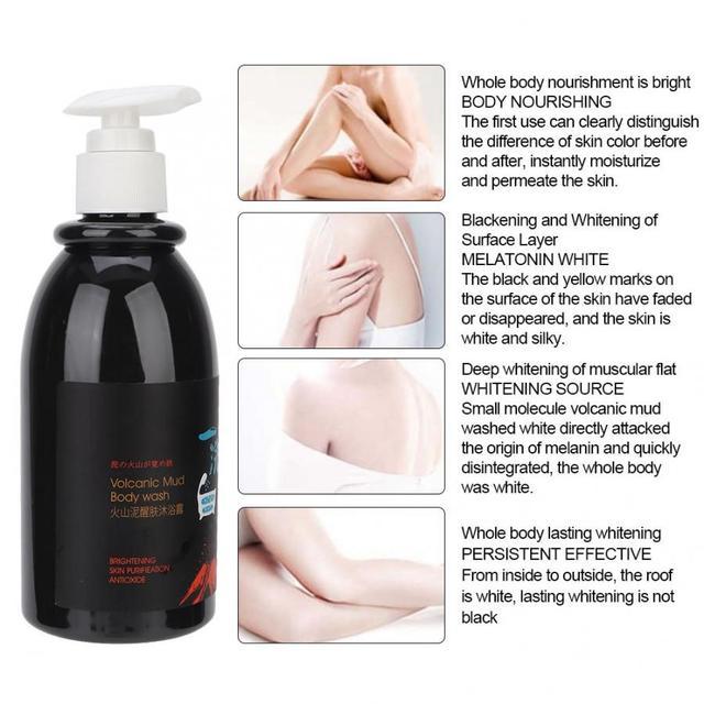 Whitening body shower gel Volcanic Mud Shower Gels Whole Body Fast Whitening Body wash Remove gel Whitening cleaning gel 250ml 4