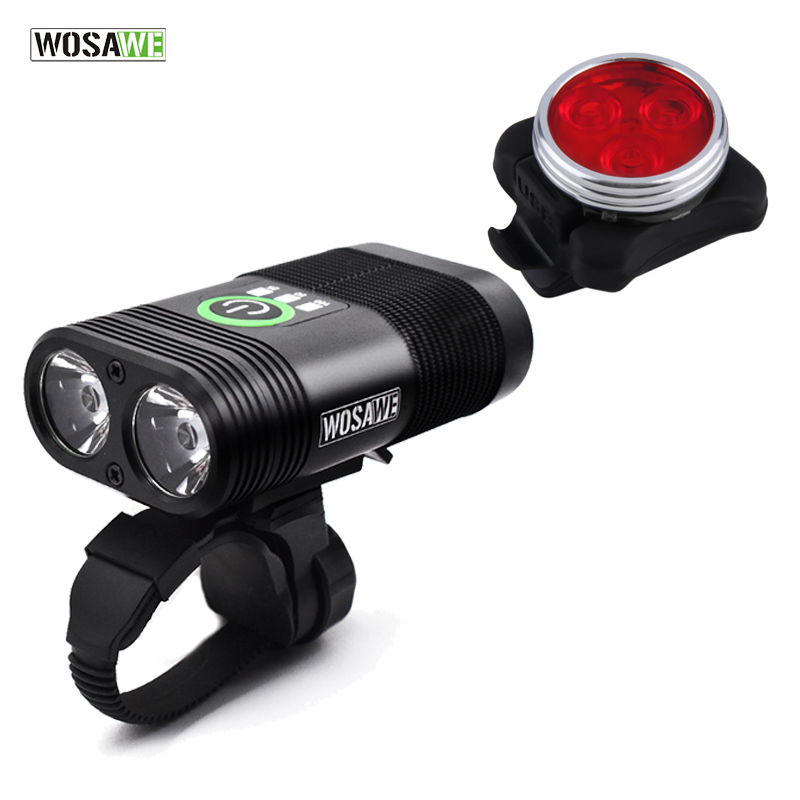 WOSAWE 2400 Lumens Bike Light 2-XPE LED Lamps Bicycle Light Headlight Head Front Lights Flash Light+Back Safety Rear Light