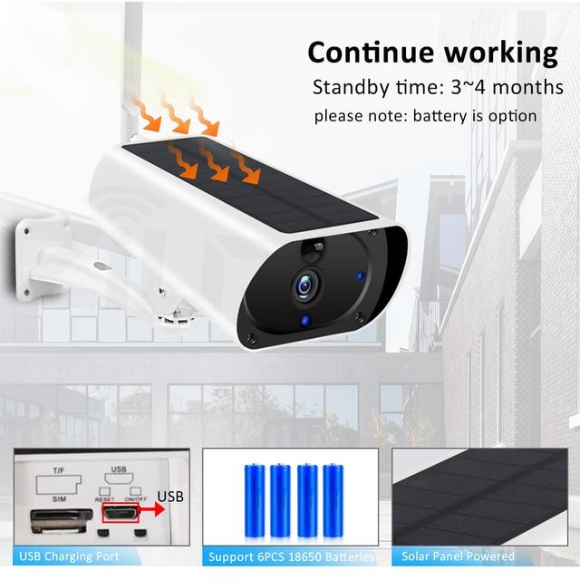 ZILNK Outdoor 3G 4G Solar Camera 1080P HD WiFi  Battery Powered Wireless Security Camera PIR Motion Detect 2MP SIM Card IP Cam 3