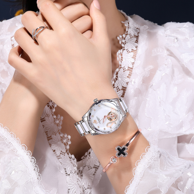 New Women's Watches 2021Diamond Luxury Design Ceramic Stainless Steel Strap Montre Femme Automatic Mechanical Relojes Para Mujer 6
