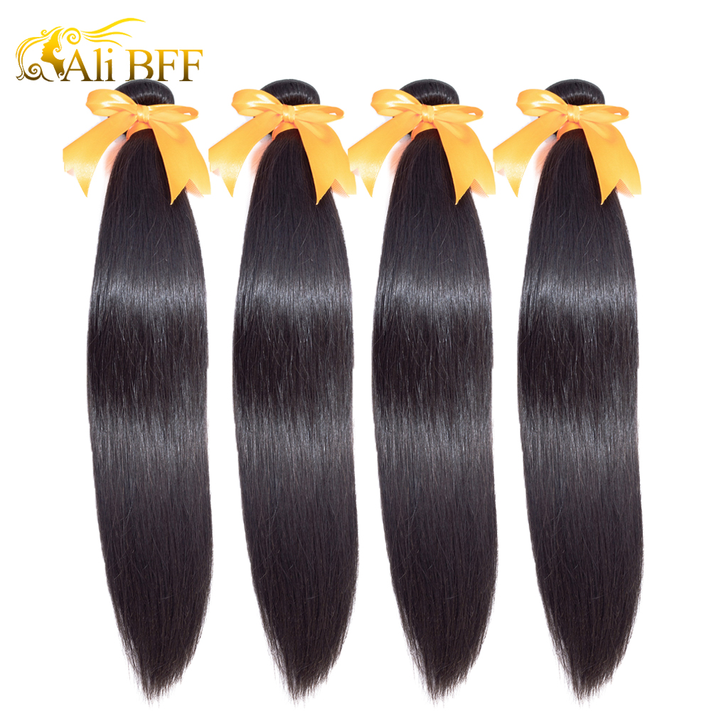 ALI BFF Straight Hair Extensions 100% Human Hair Bundles Natural Color 1/3/4 Bundles Indian Hair Straight Remy Hair Weaves