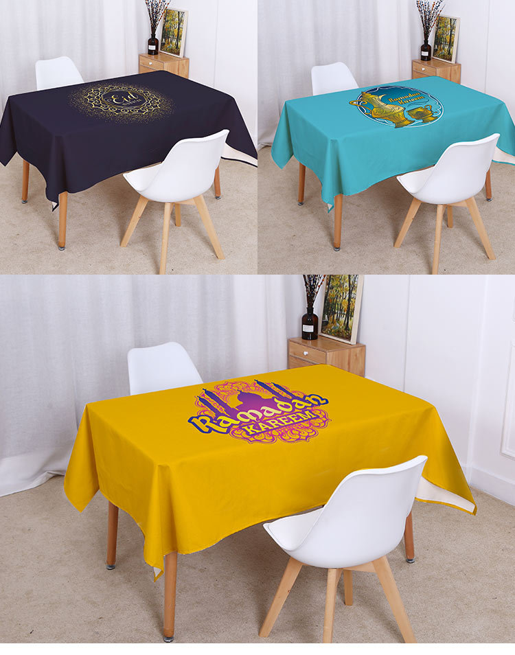 Waterproof tablecloth mosque Muslim table cloth Islamic table cover for Eid al Fitr Balram Linen Tablecloth