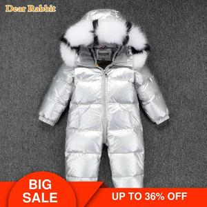 Image 1 -  30 Russian Winter Snowsuit 2020 Boy Baby Jacket 90% Duck Down Outdoor Infant Clothes Girls Climbing For Boys Kids Jumpsuit 2~5y