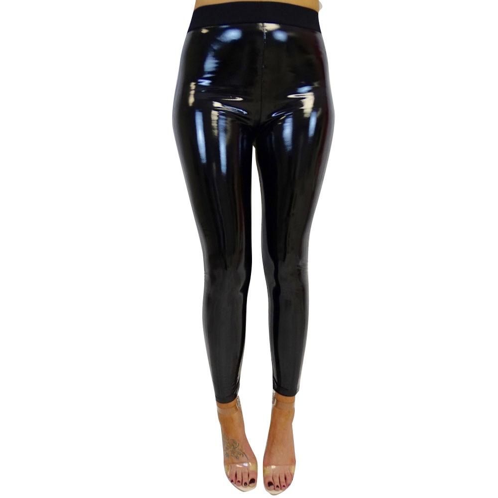 Winter Gothic Strethcy Shiny Wet Look PU Leather Leggings Women Black Slim Push Up Long Pants Ladies Sex Skinny Leggings #P5