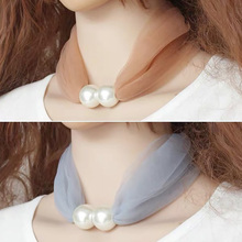 Ring-Scarf Lace Transparent Summer Ladies Women Fashion Pearls Day-Gifts Soft Solid-Color