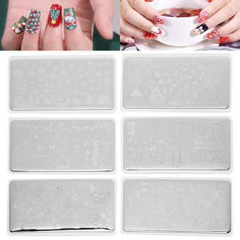 6 sztuk zestaw warstwa do zdobienia paznokci motyw świąteczny Manicure szablon obrazu DIY szablon do paznokci narzędzie narzędzia do salonu stylizacji paznokci akcesoria tanie i dobre opinie TMISHION CN (pochodzenie) Do odciskania