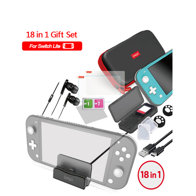 18 in 1 Accessories Kit For Nintend Switch Lite Carrying Bag Case Charging Stand TPU Shell Type C Cable Tempered Screen Film