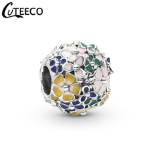 CUTEECO 2019 New Colorful Flowers Enamel DIY Beads Fits Pandora Charm Bracelet For Women Spring Series Jewelry Accessories