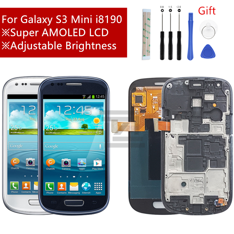 For SAMSUNG Galaxy S3 Mini LCD Display i8190 Touch Screen Digitizer assembly with frame display S3 Mini i8195 i8200 Repair Parts|Mobile Phone LCD Screens|   - AliExpress