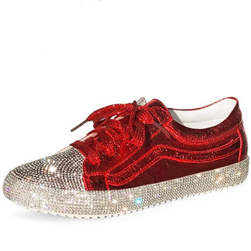 Spring New Fashion Brand Ladies Shoes Women Sneakers Rhinestone Silver Girls Crystal Bling Cross-tied Lace Up Glitter Red Flats