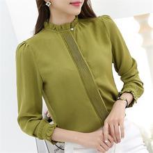 S-3XL Plus Size Women Chiffon Blouse Casual Solid Stand Collar Shirt 2019 Autumn Elegant Korean Office Lady Long Sleeve Slim Top цена 2017