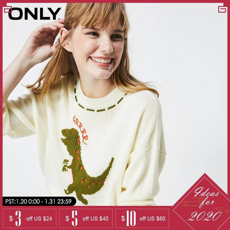 ONLY Winter  Loose Fit Cute Pattern Round Collar Sweater   119313540