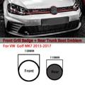 Блестящий черный высококачественный автомобильный значок 138 мм с передним грилем и Эмблема багажника 110 мм для VW Golf MK7, 2 шт.