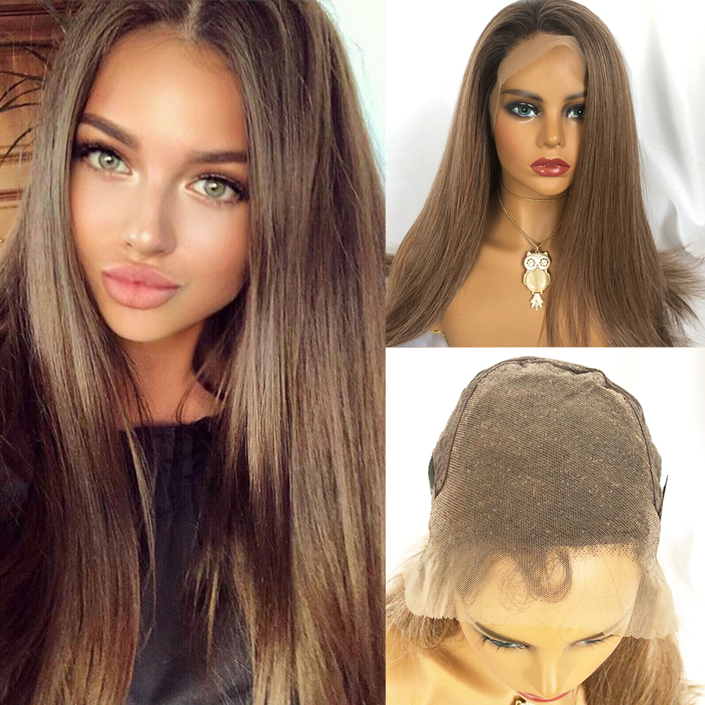 Image 5 - TINY LANA Long Silky Straight Brown Blonde Lace Front Wig with Baby Hair Heat Resistant 100%Futura Synthetic Wigs for WomenSynthetic Lace Wigs   -