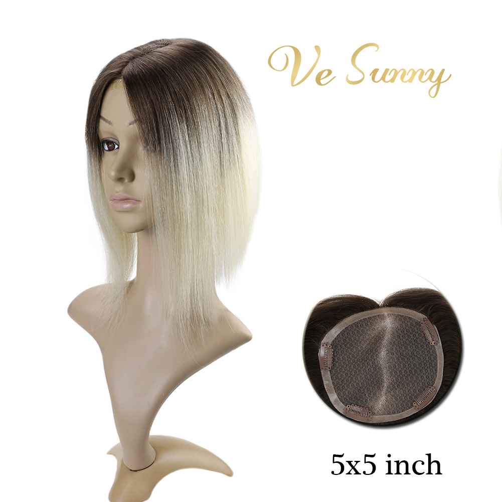 VeSunny Hair Piece Mono Topper 100% Real Human Hair Crown Toupee With 4 Clips 5x5 Inches Ombre Color Brown To Blonde #4/60