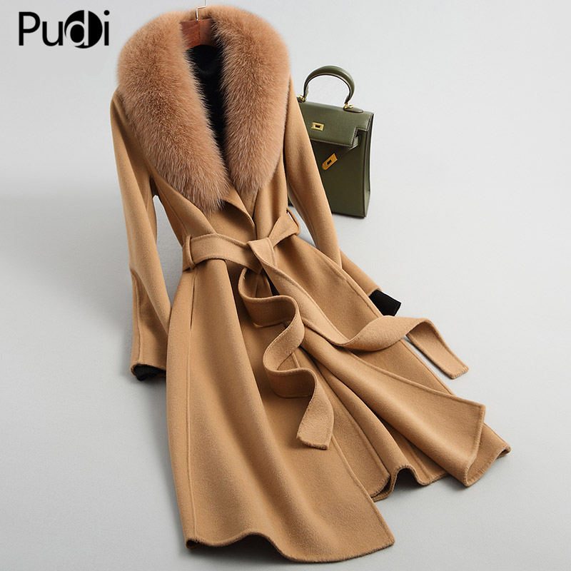 Pudi women 90% wool blends coat jacket with real f