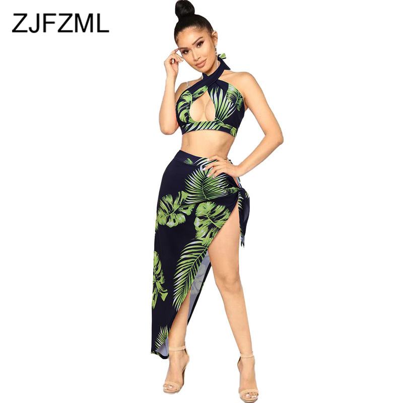 Leaves Print Sexy Two Piece Matching Set Women Halter Backless Crop Top And Side Split Maxi Skirt Summer Beach Hohemian Outfits