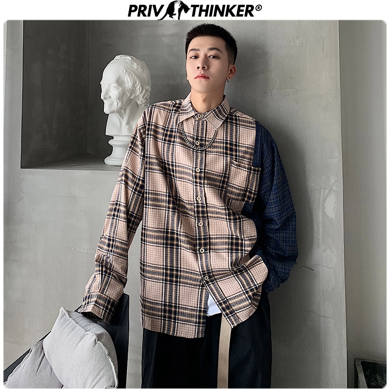 Privathinker Spring Plaid Shirts For Men 2020 Patchwork Korean Man Casual Blouse Fashion Fashion Male Long Sleeve Shirts Tops