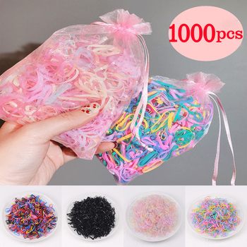 1000pcs/pack Candy Color Disposable Rubber Bands For Girl Gum Ponytail Holder Elastic Hair Band Girls Kids Hair Accessories 50 100 pcs girls candy color nylon hair ties small kids elastic hairband children rubber band ponytail holders hair accessories