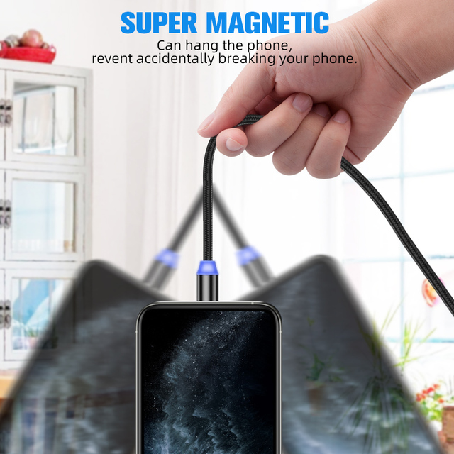 ANMONE Magnetic Micro USB Cable Magnet Plug Type C Charge 3 In 1 Cord for iPhone Huawei Samsung XiaoMi Magnet Charge Wire 3