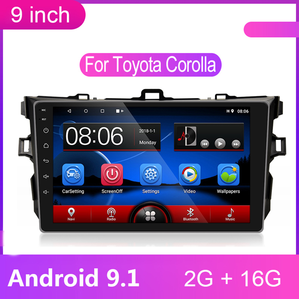 9 inch Android 9.1 2 Din Car Radio <font><b>Multimedia</b></font> Player 2din Gps Navigation Wifi Bluetooth for <font><b>Toyota</b></font> <font><b>Corolla</b></font> 2008 2009-2012 2013 image