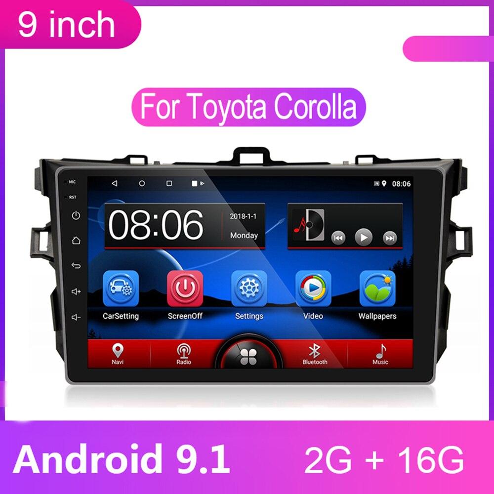 9 pouces Android 9.1 Autoradio 2 Din Lecteur Multimédia 2din Gps Navigation Wifi Bluetooth pour Toyota Corolla 2008 2009-2012 2013