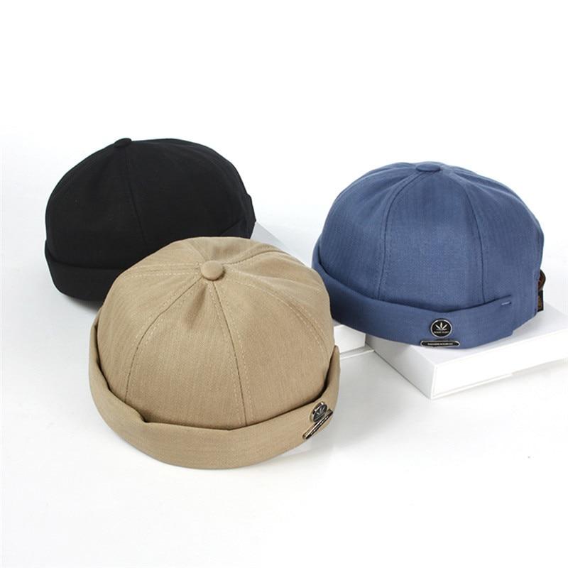 KLV Fashion Harajuku Unisex Corduroy Adjustable Brimless Hat Men Retro Skullcap Sailor Cap Hip-hop Cap Women Casual French Hat