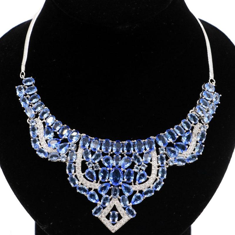 50x47mm muito rico azul violeta tanzanita branco cz shecrown prata colares 18.5-19 polegada