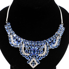 Elegant London Blue Topaz, White CZ Woman's Wedding Silver Necklace Gift 19.5 inch