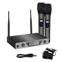 Duplo canal sem fio handheld uhf microfone karaoke casa sistema lcd para casa ktv karaoke plugue da ue|Microfones| |  -