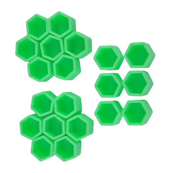 Green 20 Pcs 17/19/21mm Silicone Hollow Hexagonal Wheel Hub Screw Cover Car Styling Decoration Protecting image