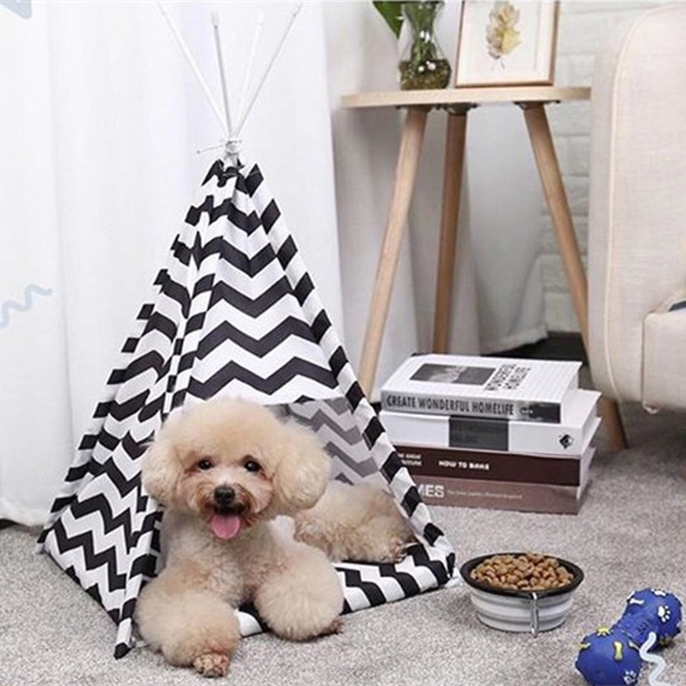 Pet Tent Foldable Pets House Cat Home Small <font><b>Dogs</b></font> Bed Washable Puppy Cats Indoor Outdoor <font><b>Kennels</b></font> Portable Teepee Cave with Mat image