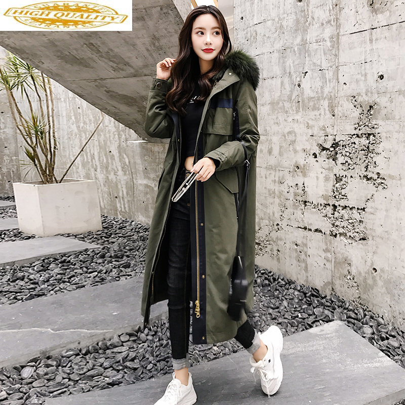 Luxury Natural Rabbit Fur Liner Parka 2020 Winter Jacket Women Raccoon Fur Collar Long Trench Coat Female Parkas MY3585