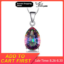 JewelryPalace Pear 5ct Natura Rainbow Fire Mystic Topaz Pendant Solid 925 Sterling Silver Brand Vintage Jewelry Without a Chain(China)