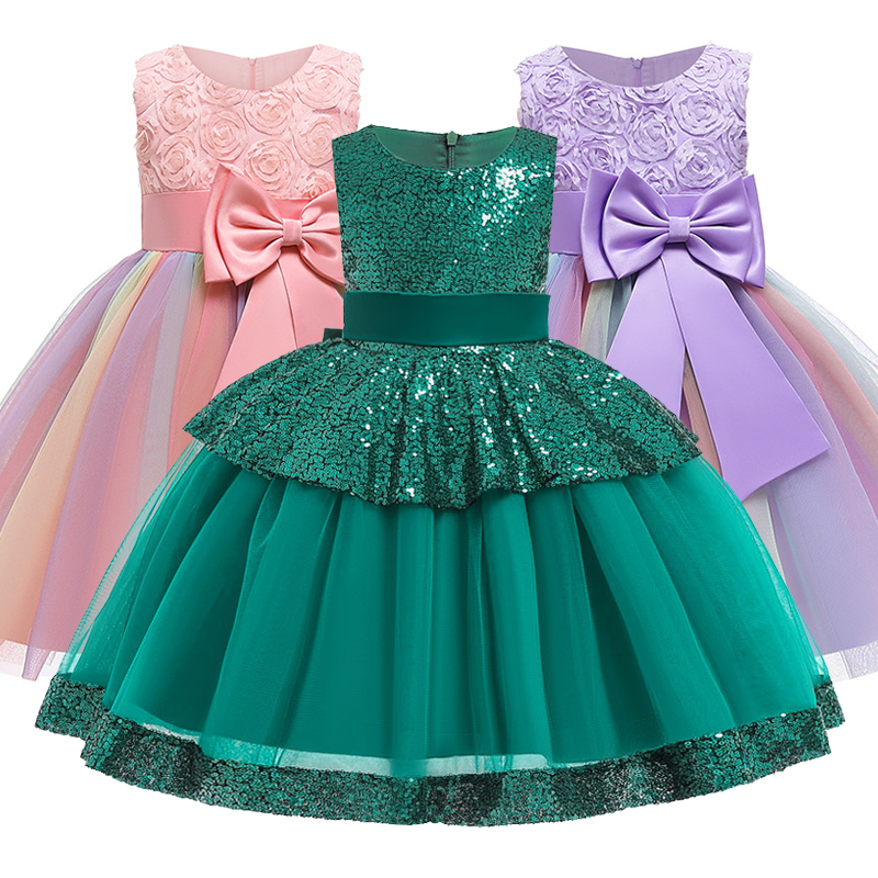 Romantic Wedding Girls Flower Girls Bridesmaid Group Party Dance Star Brilliant Dress Girls Birthday Party Singing Dress