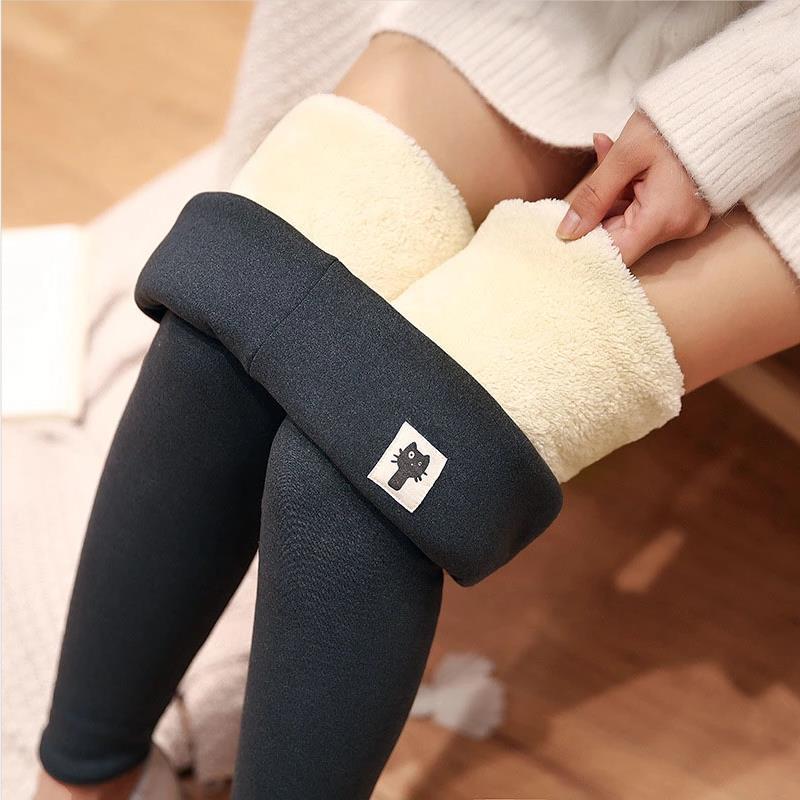 Kış kadın tayt kadife sıcak pantolon yüksek bel tayt kadınlar katı renk Legging rahat sıcak tutmak sıkı Legging