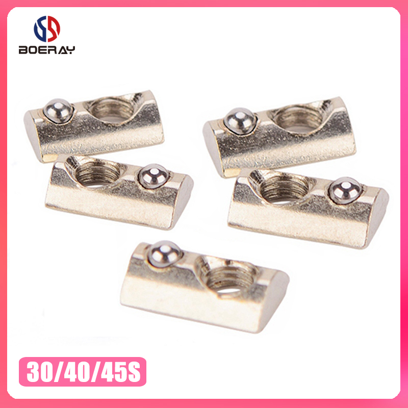 M3 M4 M5 M6 M8 Roll In Spring T-nut With Ball For Aluminum Extrusion With Profile 20/30/40/45 Series Aluminum Profile