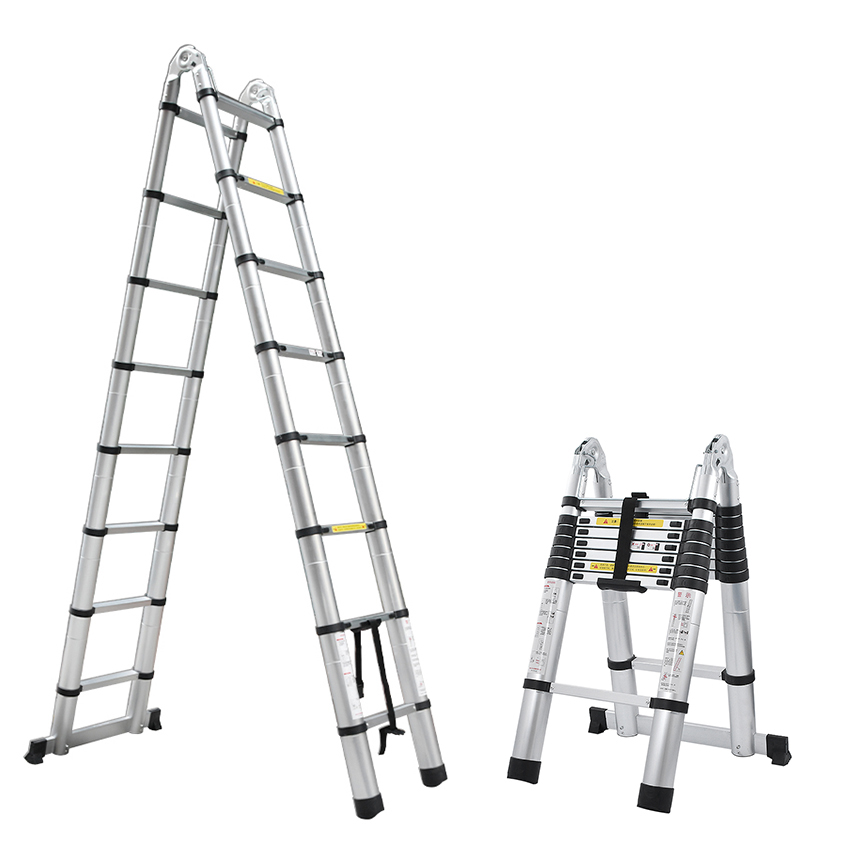 1 PCS 2.5M+2.5M Alluminum Telescopic Ladder With Joint