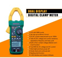 цена на MASTECH Digital current clamp meter AC/DC current voltage 6000 Counts NCV trms USB clamp meter mulitimeter tester 1000A