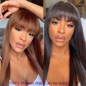 Image 4 - Straight Human Hair Wigs With Bangs Full Machine braide Wigs For Black Women Cheap Lace Front Wigs With Bang Brazilian Hair Wigs