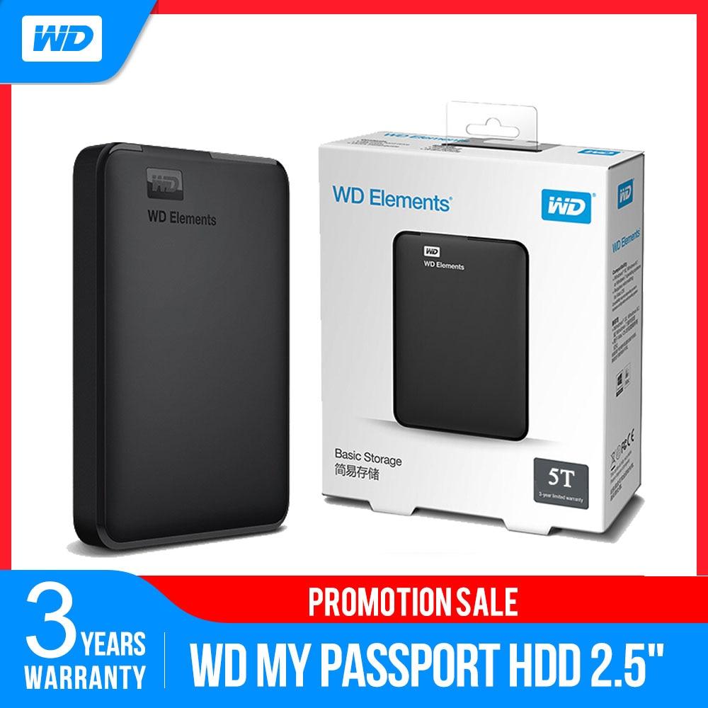 Оригинальный WD Elements портативный внешний жесткий диск 500 ГБ 1 ТБ 2 ТБ 3 ТБ 4 ТБ 5 ТБ 2,5 USB 3,0 жесткий диск для ПК ноутбука