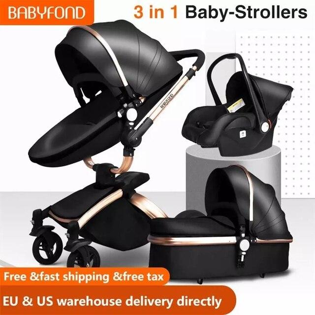 Babyfond 3 in 1 Baby Stroller High Landscape Stroller 360 Degree Carriage PU Pram EU Safety Car Seat Bassinet Newborn Trolley