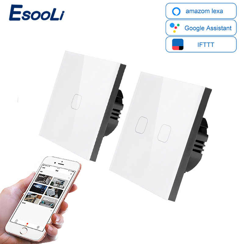 EsooLi Smart Home 1/2/4 Gang 1 way Wireless WiFi EU Standard Touch Switch Wall Light Switch,White Luxury Crystal Glass