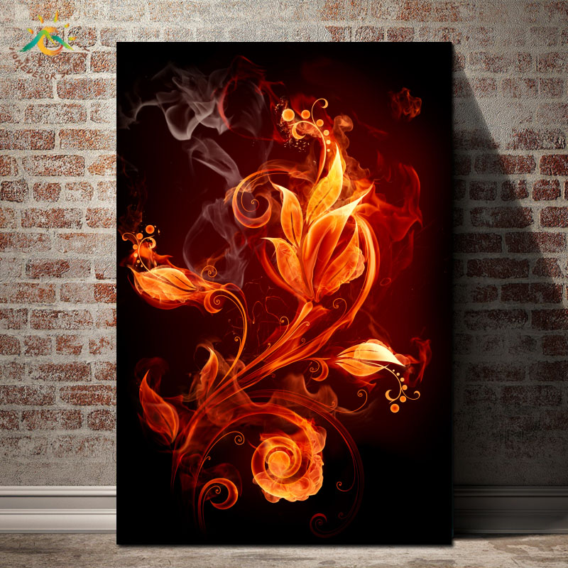 Fire Abstract Flower Posters and Prints Canvas Painting Modern Art Wall Art Wall Pictures Home Decoration for Living Room in Painting Calligraphy from Home Garden