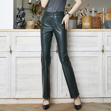 Pants Trousers Genuine-Leather Vintage Black High-Waist Plus-Size Fashion Loose Red
